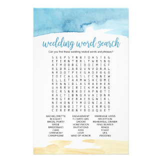 """Watercolor Sand and Sea """"Wedding Word Search"""" Game Flyer"""