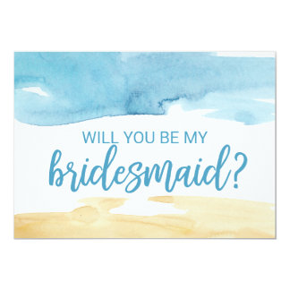 Watercolor Sand and Sea Will You Be My Bridesmaid Card