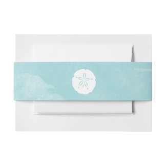 Watercolor Sand Dollar Belly Band Invitation Belly Band