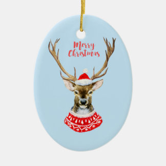 Watercolor Santa Reindeer on Blue Christmas Ornament