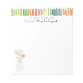 Watercolor School Psychologist's Note Pad