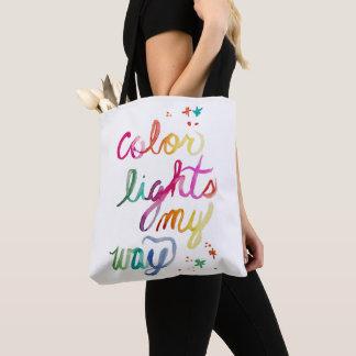 Watercolor Script Art Bold Bright Fun Rainbow Cute Tote Bag