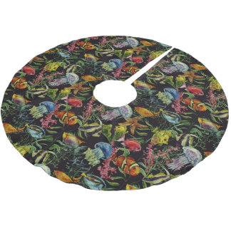 Watercolor Sea Life Pattern 1 Brushed Polyester Tree Skirt