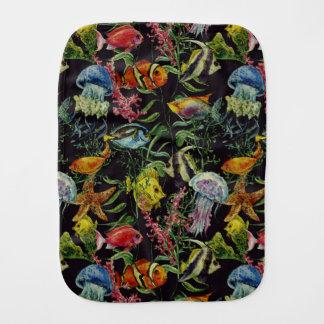 Watercolor Sea Life Pattern 1 Burp Cloth