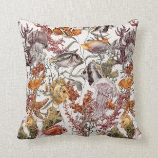 Watercolor Sea Life Pattern 2 Throw Pillow