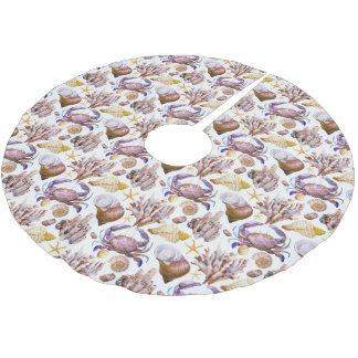 Watercolor Sea Life Pattern 4 Brushed Polyester Tree Skirt