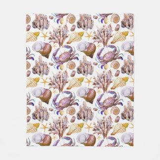 Watercolor Sea Life Pattern 4 Fleece Blanket