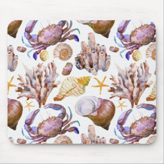 Watercolor Sea Life Pattern 4 Mouse Mat