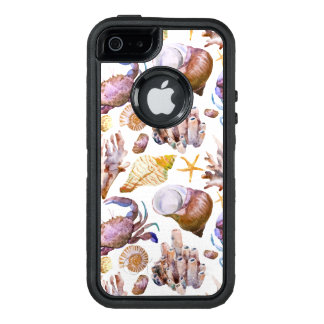 Watercolor Sea Life Pattern 4 OtterBox Defender iPhone Case
