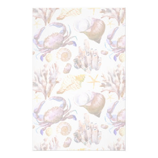Watercolor Sea Life Pattern 4 Stationery