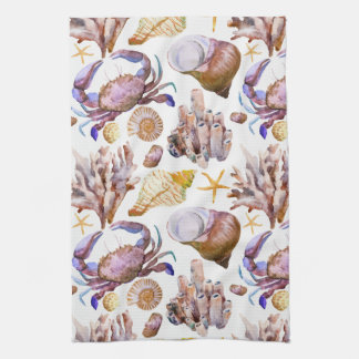 Watercolor Sea Life Pattern 4 Tea Towel