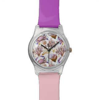 Watercolor Sea Life Pattern 4 Watch