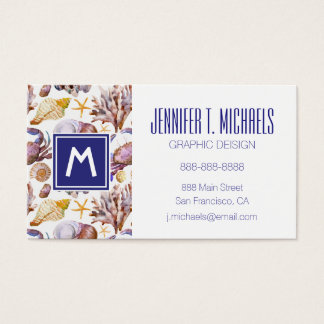 Watercolor Sea Life Pattern Business Card