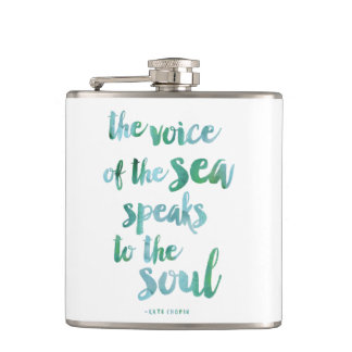 Watercolor Sea Quote Flask