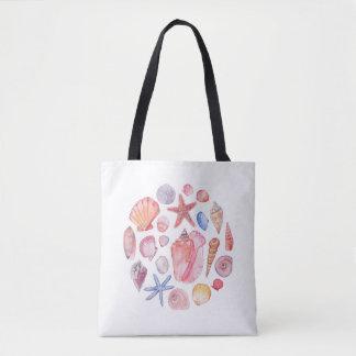 Watercolor Sea Shell Tote Bag