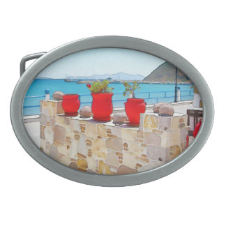 Watercolor sea view belt buckle