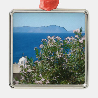 Watercolor sea view Silver-Colored square decoration