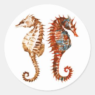 Watercolor Seahorse Pattern Round Sticker