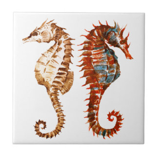 Watercolor Seahorse Pattern Tile