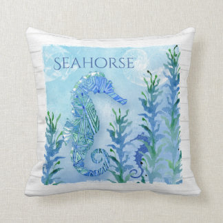 Watercolor Seahorse Vintage Nautilus Shell Ocean Cushion