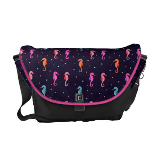 Watercolor Seahorses on Navy Blue Pattern Commuter Bags