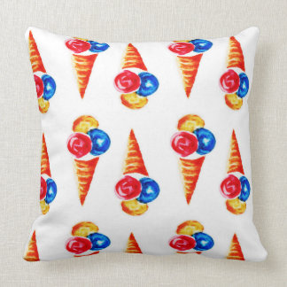 Watercolor seamless pattern with ice-cream cone cushion
