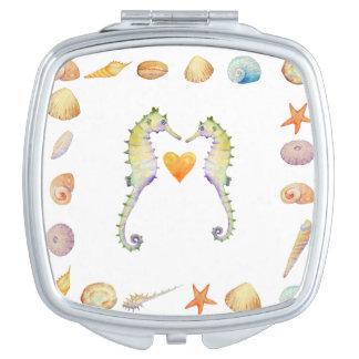 Watercolor Seashell and Seahorse Mirrow Makeup Mirror