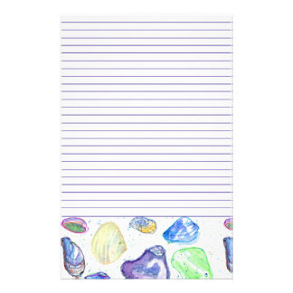 Watercolor Seashells Letter Writing Lined Stationery Paper