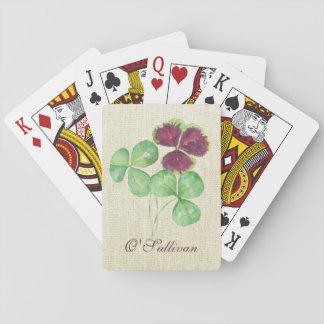 Watercolor Shamrock Clover Saint Partick's Day Playing Cards