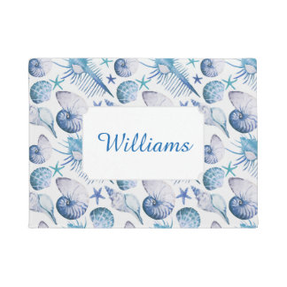Watercolor Shells | Add Your Name Doormat