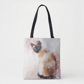 Watercolor Siamese Cat Tote Bag