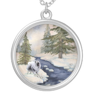 watercolor silver plated necklace