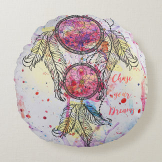 """Watercolor sketch Dreamcatcher """"Chase your Dreams"""" Round Cushion"""