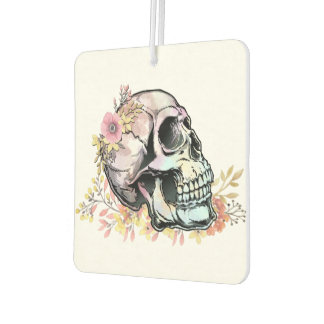 Watercolor skull with autumn flowers car air freshener