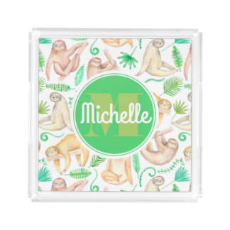 Watercolor Sloth Pattern | Add Your Initial Acrylic Tray