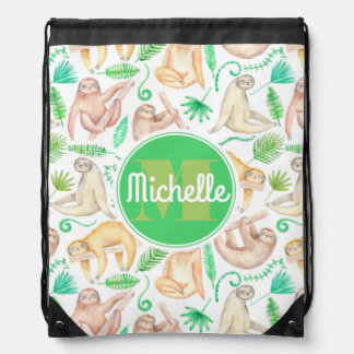Watercolor Sloth Pattern | Add Your Initial Drawstring Bag