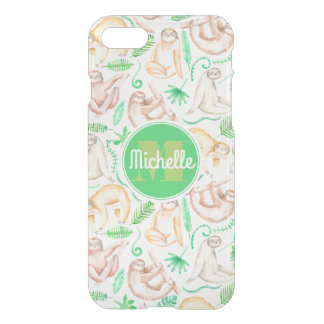 Watercolor Sloth Pattern | Add Your Initial iPhone 8/7 Case