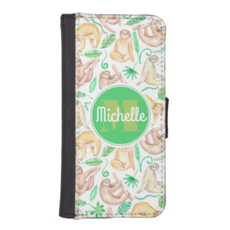 Watercolor Sloth Pattern | Add Your Initial iPhone SE/5/5s Wallet Case