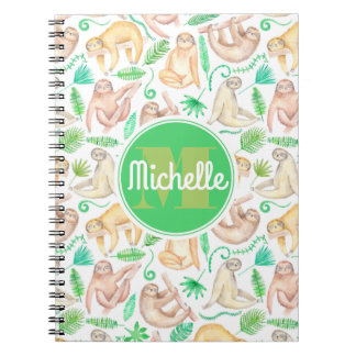 Watercolor Sloth Pattern | Add Your Initial Spiral Notebook
