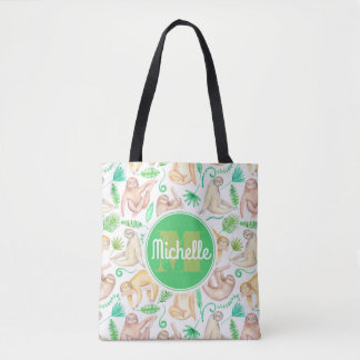 Watercolor Sloth Pattern | Add Your Initial Tote Bag