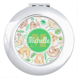 Watercolor Sloth Pattern   Add Your Initial Vanity Mirror