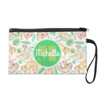 Watercolor Sloth Pattern | Add Your Initial Wristlet