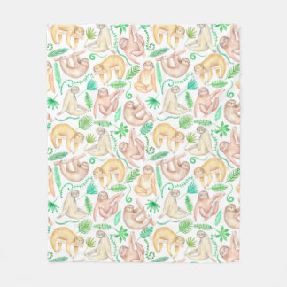 Watercolor Sloth Pattern Fleece Blanket