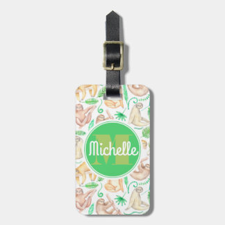 Watercolor Sloth Pattern | Monogram Luggage Tag