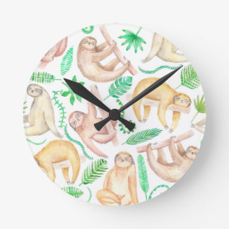 Watercolor Sloth Pattern Round Clock