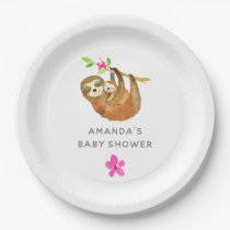 Watercolor Sloth themed Baby Shower Paper Plate