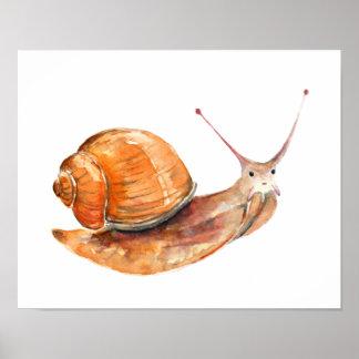 Watercolor snail nursery print