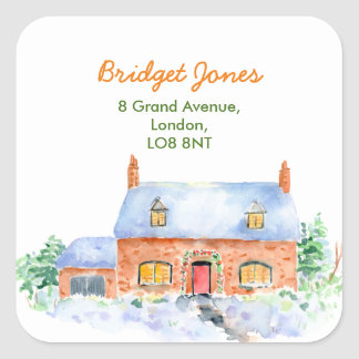 Watercolor Snow Cottage Address Label
