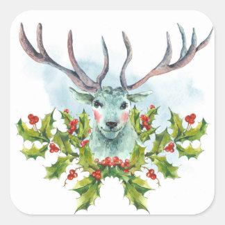Watercolor Snow White Deer Square Sticker