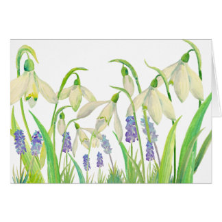 Watercolor Snowdrops and Muscari Card